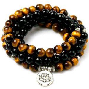 Bracelet Œil De Tigre & Hématite Fleure de Lotus