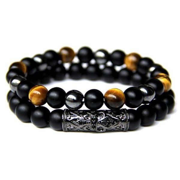 Bracelet Œil De Tigre & Hématite & Chrome