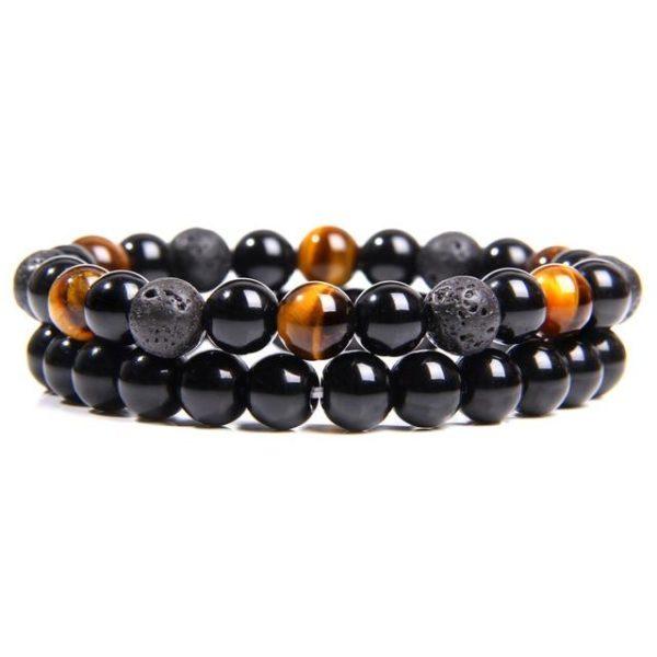 Bracelet Œil De Tigre & Hématite & Lave Noir