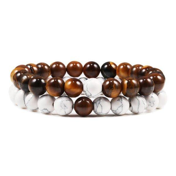 Bracelet oeil De Tigre & Perles Marbre