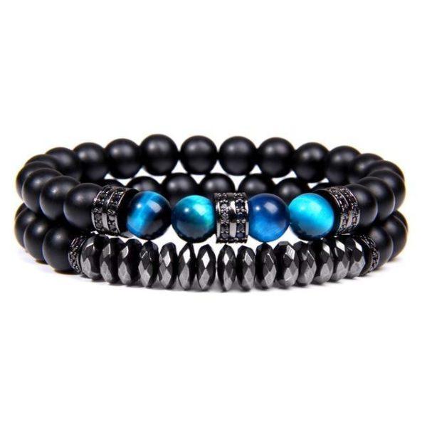 Bracelet Oeil De Tigre Bleu & Hématite Energisante Noir