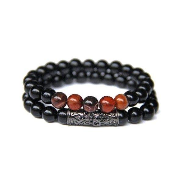 Bracelet Oeil De Tigre Rouge & onyx 5 Sphères
