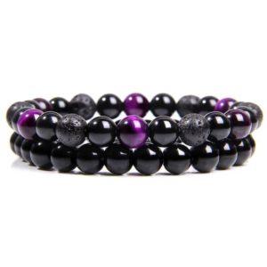 Bracelet Oeil De Tigre Violet & Hématite & Lave Noir