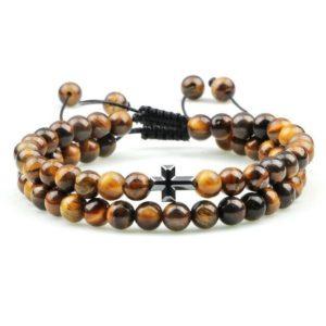 Bracelet Oeil De Tigre & Croix Chrétienne