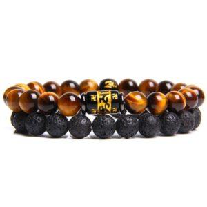 Bracelet Oeil De Tigre & Lave Noir Feng shui