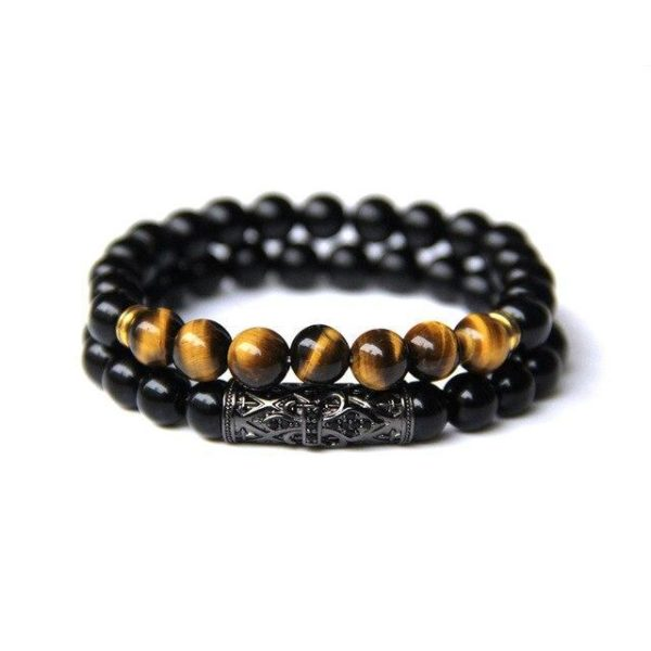 Bracelet Oeil De Tigre & Onyx L'Équilibre