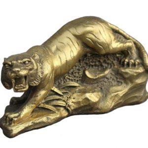 Statue Tigre Fauve en Chasse