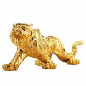 Statue tigre fauve d'or