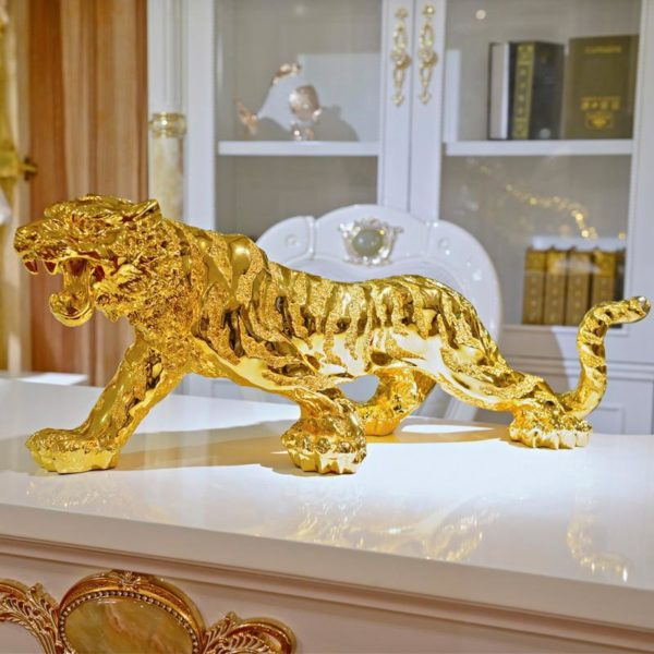 Statue tigre fauve d'or face