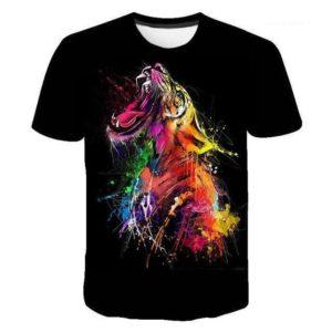 T-Shirt Tigre Arc En Ciel
