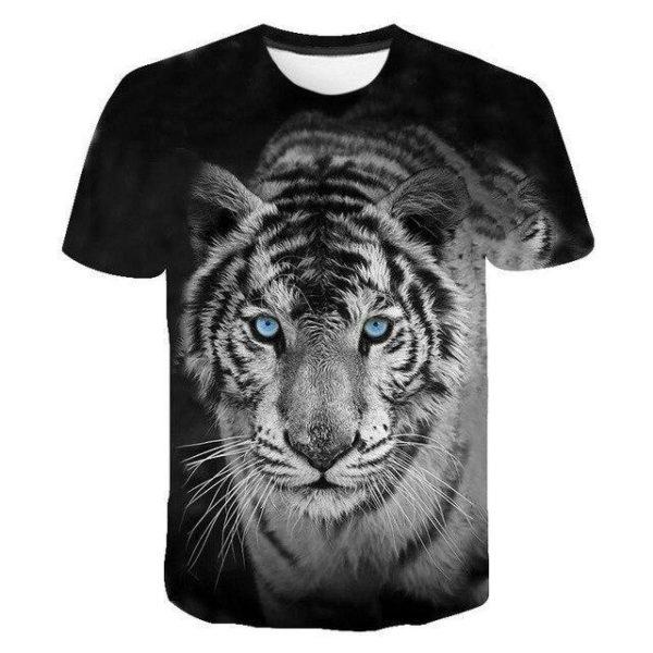 T-Shirt Tigre Fauve Yeux Bleu