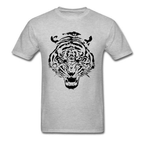 T-Shirt Tigre tribal gris claire