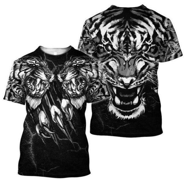 T-Shirt Tigre Démoniaque Noir & Blanc