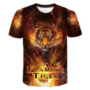 T-shirt Tigre Flaming Tiger