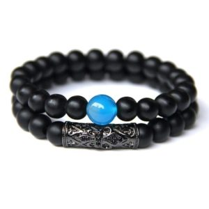 Bracelet oeil De Tigre Bleu & Hématite L'unique