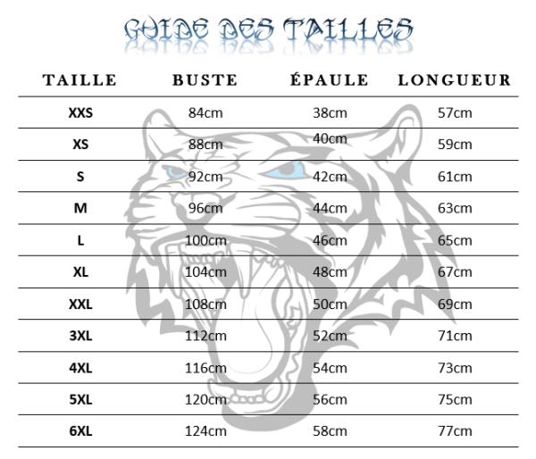 Guide des tailles  Sweat Tigre Duel D'Esprit