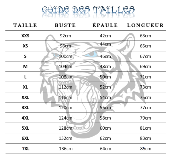 Guide des tailles Sweat tigre the tiger red