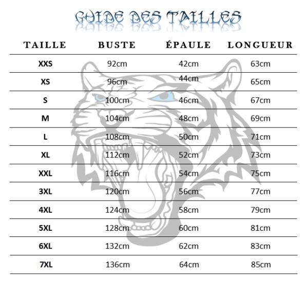 Guide des tailles Sweat Tigre Marche Bestial