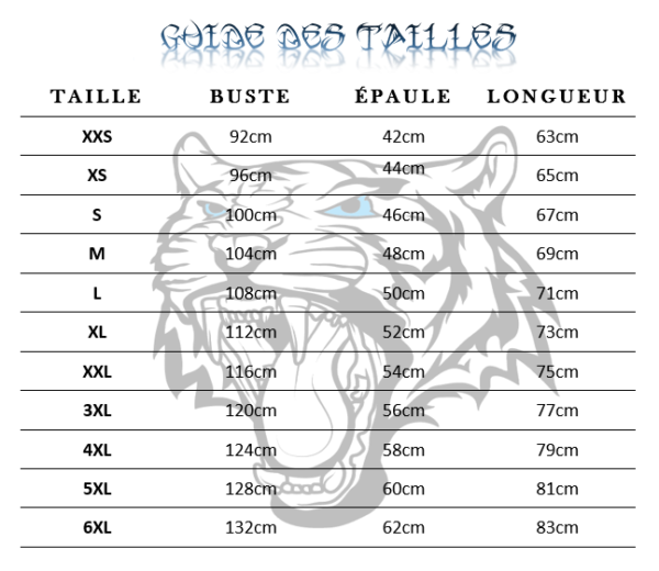 Guide des tailles  sweat tigre guerre territoire