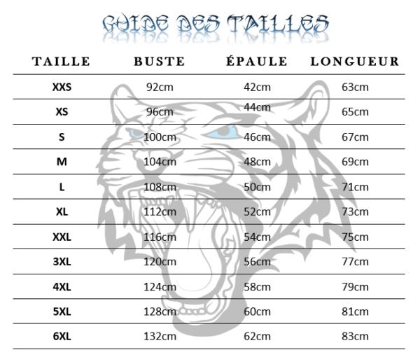 Guide des tailles  Sweat tigre explosion de fureur