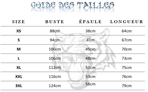 Guide des tailles  de T-Shirt Tigre tribal
