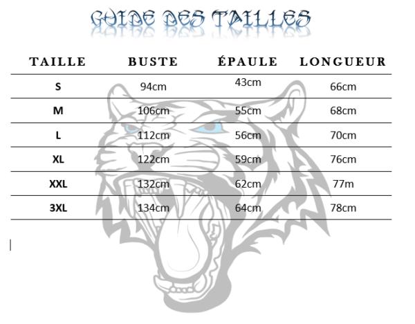 Guide des tailles  de T-Shirt Tigre Dans La Gueule