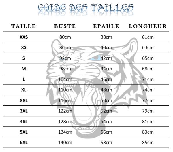 Guide des tailles  de T-Shirt Tigre pleine lune