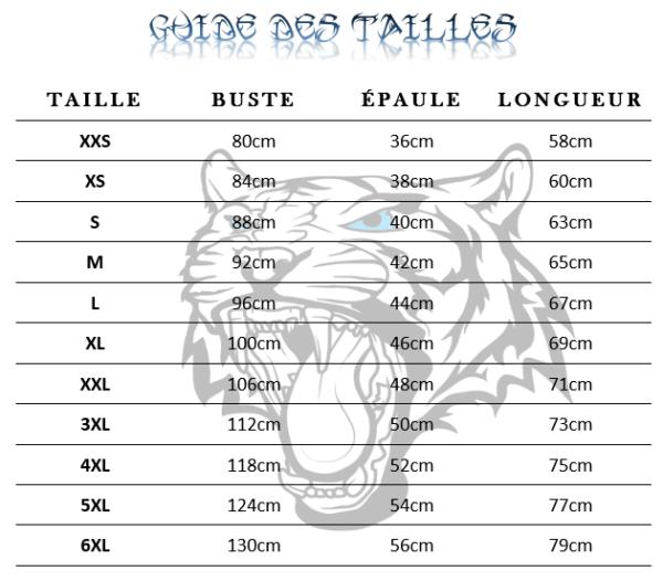 Guide des tailles  de t-shirt tigre pause félin
