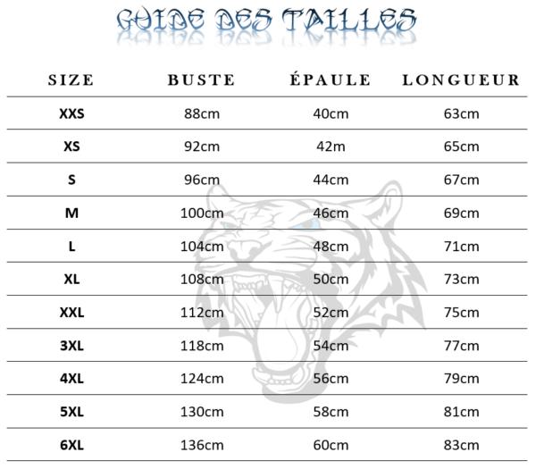 Guide des tailles  de T-Shirt Tigre Troisième Dimension