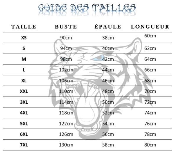 Guide des tailles  de T-Shirt Tigre Démoniaque Noir & Blanc