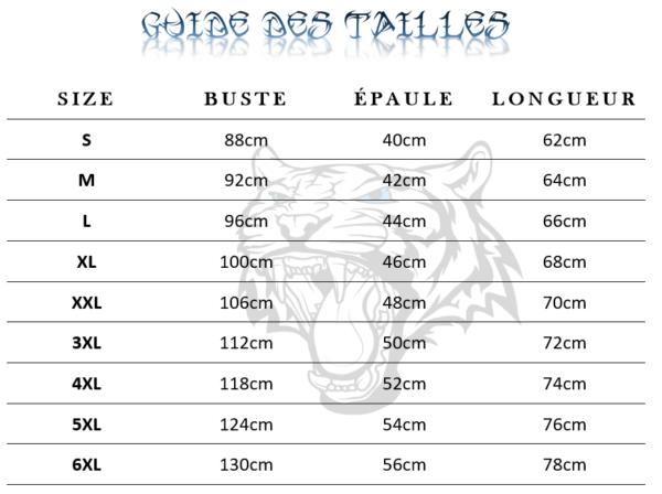 Guide des tailles  de T-Shirt Tigre Félin dans l'obscurité