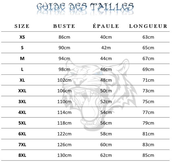 Guide des tailles  de T-Shirt Tigre Brûlant