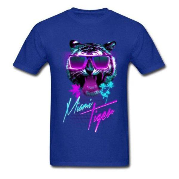 t-shirt tigre fauve party night bleu claire