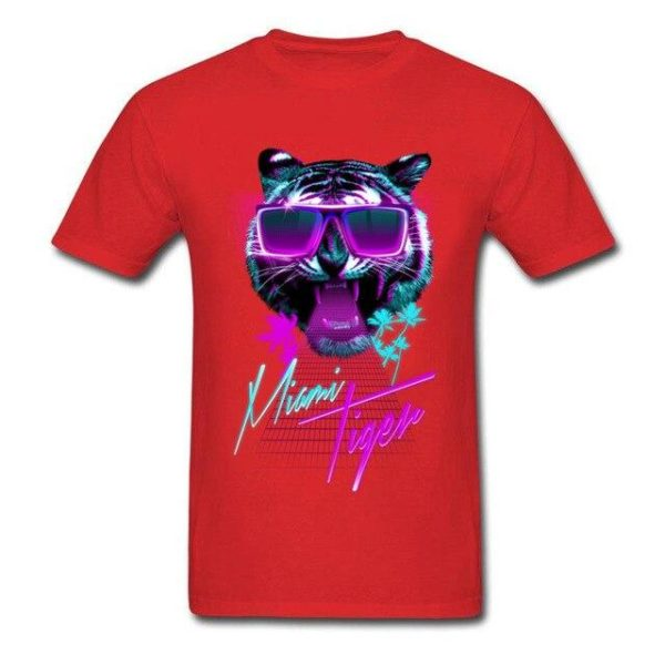 t-shirt tigre fauve party night rouge
