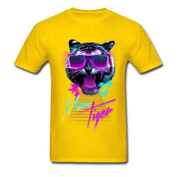 t-shirt tigre fauve party night jaune