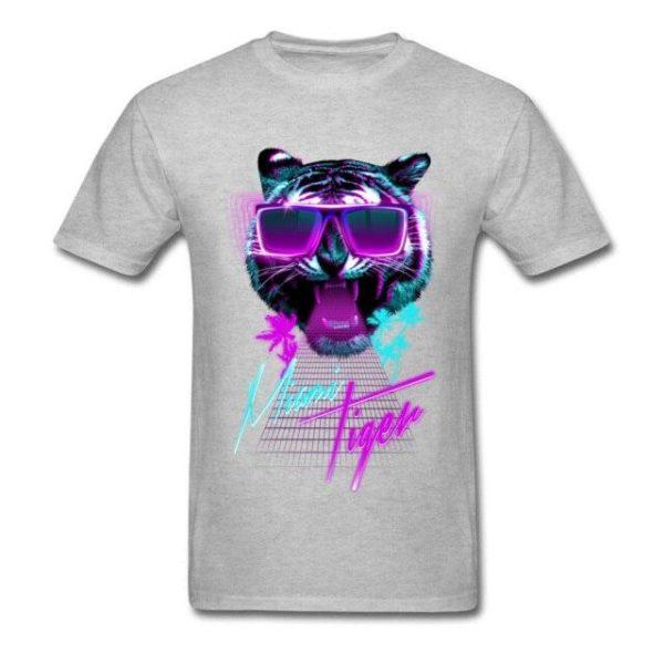 t-shirt tigre fauve party night gris