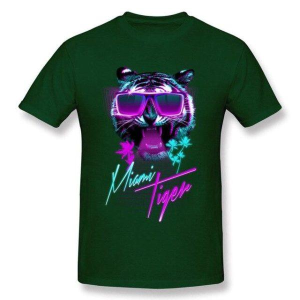 t-shirt tigre fauve party night vert