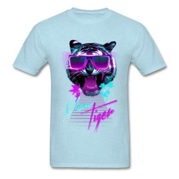 t-shirt tigre fauve party night bleu