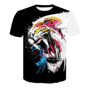 t-shirt tigre blanc rugissant
