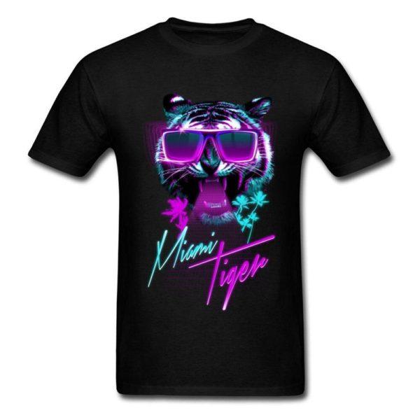 t-shirt tigre fauve party night noir