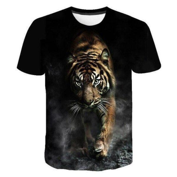 t-shirt tigre marche obscure