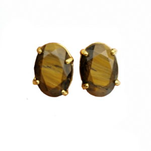 Boucle D'oreille Oeil De Tigre diamants