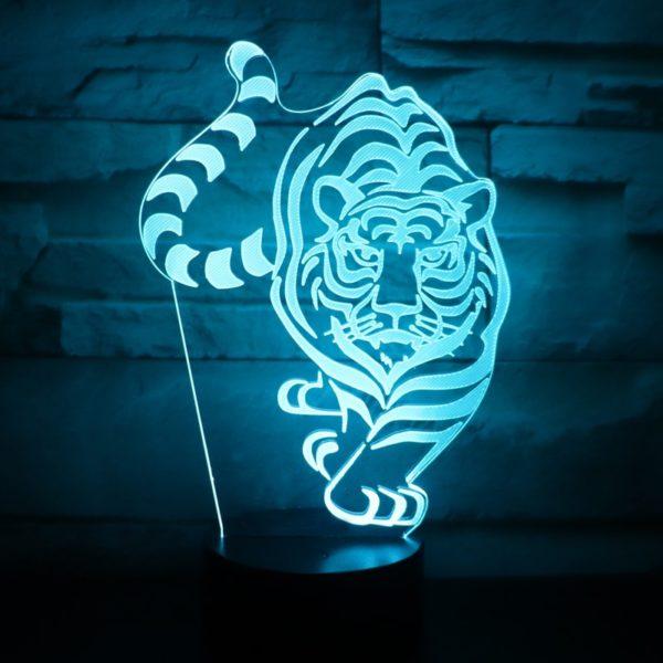 lampe tigre En chasse bleu