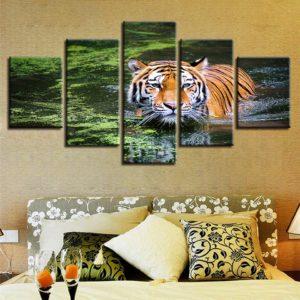 tableau tigre Baignade