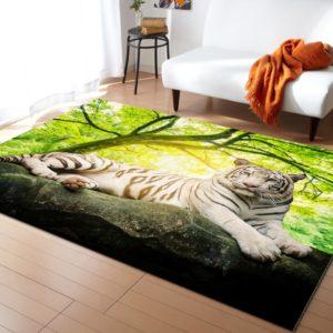 Tapis Tigres Blanc En Jungle