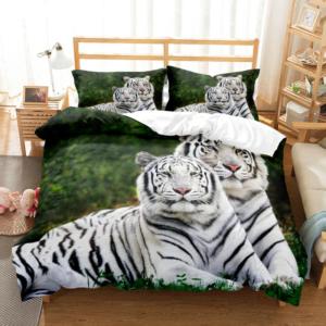 housse de couette tigre Couple Blanc