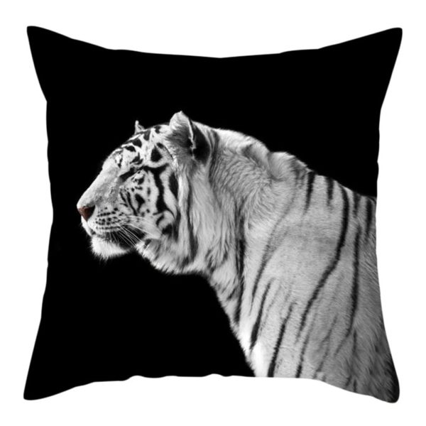 coussin tigre Blanc de profil
