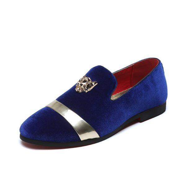 chaussure tigre mocassin bleu