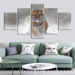 tableau tigre Cours dans la neige