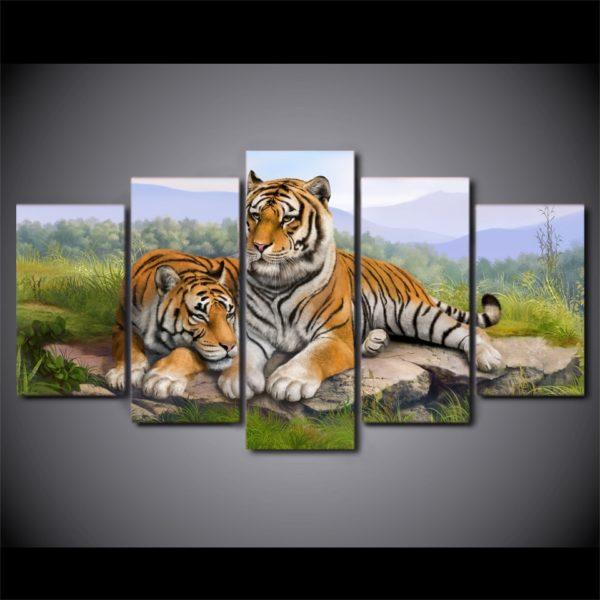 tableau tigre Deux Félins